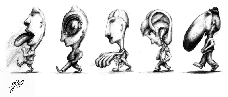 Tecknad bild i homonkulus-stil med de fem sinnena överdrivna på fem olika karikatyrer i profil som går i rad. En har jättestor tunga, en har ett jättestort öga, en har en jättestor hand, en har ett jättestort öra och en har en jättestor näsa.